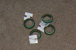 Bed Bath and Beyond Green and Gold Napkin Rings Set of 4 NWOT