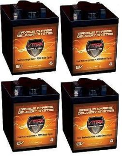 QTY 4 MB6 Golf Cart Batteries 24V AGM 6 Volt 225AH VMAX AGM Batt