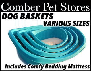 Heavy Duty Plastic Dog Bed (Basket) & Deluxe Bedding Various Sizes