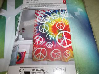 ... Bathroom Shower Curtain Peace Sign Rainbow Tie Dye Teen Dorms New Cool  ...