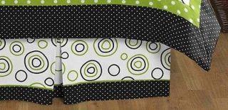 BED SKIRT DUST RUFFLE FOR SWEET JOJO GREEN AND BLACK SPIRODOT BEDDING