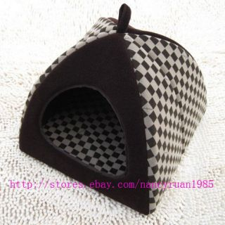 Grid Pet Dog Cat House Bed Tent Chocolate  S,M,L