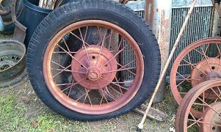 FORD MODEL A SPOKE WIRE WHEEL AND TIRE T 21 INCH 1928 1929 OE