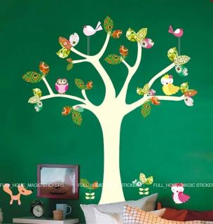 Colourful Animal Tree Wall Stickers Nursery/Girls/Kids Room Art Decals