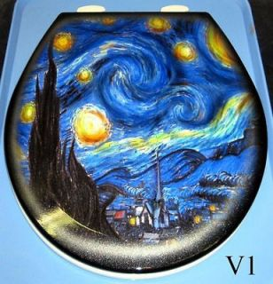 Van Gogh Design, Airbrushed Toilet Seat, Detailed Bathroom Art