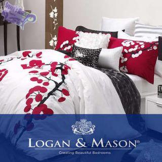 Yoko White Single Bed Quilt Cover Set   Logan & Mason   Cherry Blossom