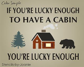 You Lucky Enough Cabin Pine Tree Rustic Lodge Mountain Bear Art Signs