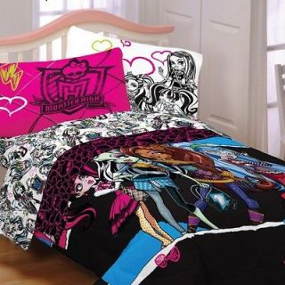 NEW MONSTER HIGH GHOULS RULE FULL SIZE COMFORTER AND SHEET SET BEDDING