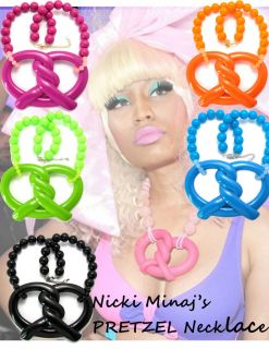 NEW NICKI MINAJ Inspired Pretzel Pendant Necklace 18 inch 18mm Ball