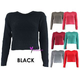 LADIES CHUNKY KNIT CROP TOP JUMPER WOMEN LONG SLEEVE KNITTED PLAIN