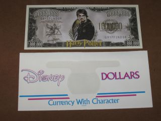 Harry Potter $1,000,000 Hermione & Ron Novelty Note + Disney dollar