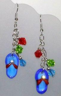beaded earrings flip flop charms dangling NEW