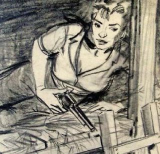 SAM CHERRY   GIRL IN BUNK BED?   RANCH ROMANCES ORIGINAL STORY DRAWING