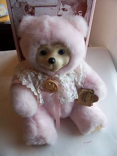 1995 ROBERT RAIKES BEARS WOOD FACE CAMEO PINK TEDDY BEAR #3209/5000