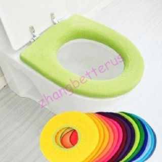 Warmer Toilet Seat Round Cover Pads Washable Cloth Flush Toilet Random