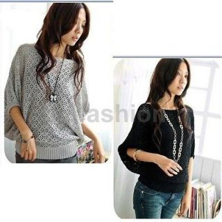 Womens Batwing Dolman Jumper Knitted Hollow Coat Boat Neck Sweater Top