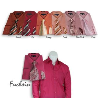 Mens Milano French Cuff Dress Shirt + Matching Tie + Handkerchief Set