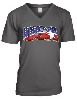 Country Colors American Pride Stars And Stripes  Mens V neck T shirt