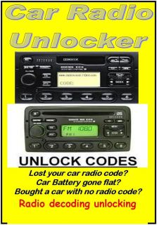 CAR AUDIO RADIO STEREO CODE UNLOCKER CD RECOVERY THE BEST EVER UPDATED