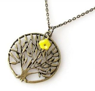 life yellow bell flower circle round pendant jewelry unique NECKLACE