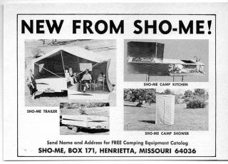 1965 Vintage Ad Sho Me Tent Camping Trailers Henrietta,MO