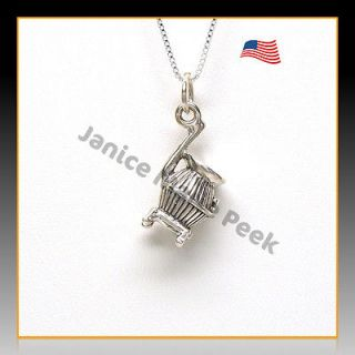 Pot Belly Wood Burning Stove Charm w Necklace Chain Sterling Silver