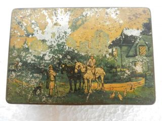 Countryside Men On Horse Litho Print Blue Bird Toffee Ad Tin Box