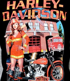 Mens Fire Fighter Pin Up Girl Black Short Sleeve Biker T Shirt