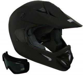 FLAT MATTE BLACK DIRT BIKE ATV MOTOCROSS MX HELMET OFF ROAD W/GOGGLES