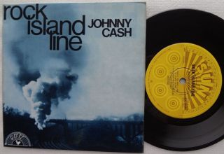 JOHNNY CASH Rock Island Line RARE Ep Pic AUSTRALIA Only 4 Track TRAIN