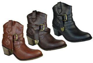 Wild Diva Women Ankle Boots Short Heel Cowboy Cowgirl Black Brown Tan