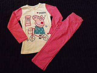 Brand New Next PEPPA PIG (on her bike) Girls Pyjamas age 2 3 3 4 5 6 7