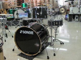 Sonor Arena Drum Set 4 pc Maple Transparent Black Shell Pack 24 Kick