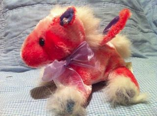 Dan Dee Pink Red winged Horse plush stuffed animal purple wings