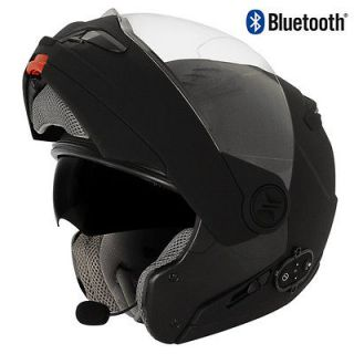Hawk Bluetooth Flat Black Modular Flip Up Dual Visor Motorcycle Helmet