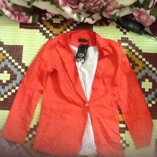 Basic Style Orange Blazer Style Similar To Zara, Size XS/S