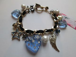 NWT Auth Betsey Johnson Heavens To Betsey Blue Heart Wing Charm