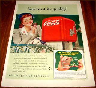1941 COCA COLA AD Lg Image of SODA FOUNTAIN & COKE DISPENSER