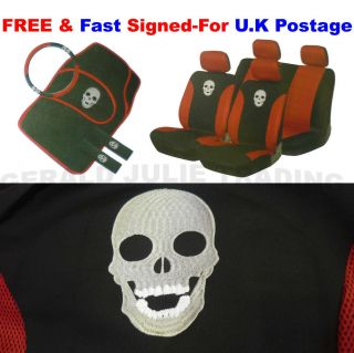 15 Piece Red Black Skeleton Skull car Seat Steering Wheel Cover Covers