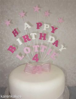 HAPPY BIRTHDAY HANDMADE CAKE TOPPER   ANY NAME, AGE OR COLOURS 1st 2nd
