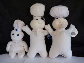 Vintage Pillsbury Doughboy Plush Stuffed Character Toys Beanie Dolls