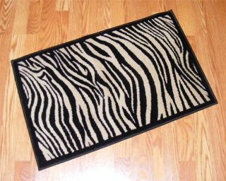 NWT ZEBRA Waves Black/Gold RUG Accent Bath Mat 20 x 31 Animal Print