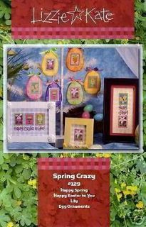 LIZZIE KATE SPRING CRAZY Cross Stitch Chart Easter CUTE