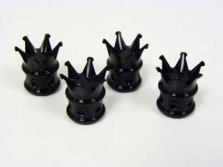 CROWN WHEEL BILLET ALUMINUM VALVE STEM CAP KIT BLACK