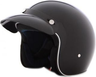 Face 3/4 DOT Helmet   Motorcycle Scooter Moped Gloss Black XS   XXL