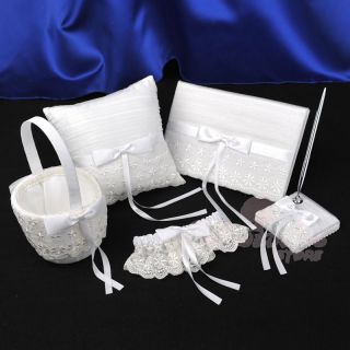 White Satin Lace Embroidery Wedding Guest Book and Pen Pillow Basket