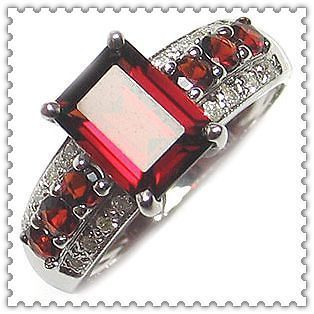 /11 Vintage Mens Princess Cut Garnet 10KT White Gold Filled Gem Ring