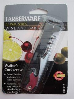 NEW Farberware Waiters Corkscrew Wine Bottle Opener Tool Bar Foil