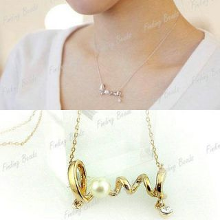 Style Fashion Necklace Gold Silver Rhinestone Love letter Twist Pearl