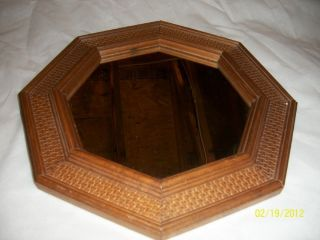 Vtg Wicker Look Octagon Mirror Home Interior HTF